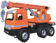 Autojeřáb plast 70cm 3-osý oranžový