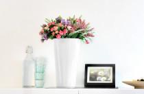 Samozavlažovací květináč GreenSun OXYGENS 18 x 18 cm, výška 31 cm, bílý