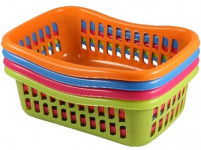 košík TIN 36x25x11cm plastový (veľký) - mix farieb