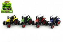 Traktor kov 9cm na zpětné natažení - mix barev