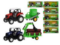 Traktor s vlečkou kov 18 cm 1:43 spätný chod - mix variantov či farieb