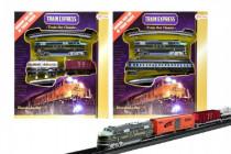 Vlak s koľajami plast dĺžka dráhy 360cm na batérie so svetlom v krabici 30x34cm - mix variantov či farieb