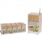 špáradlá guľatá obojstr. bambus (450ks) + plastový box štvorc.