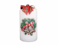 Svíčka ZVONKY SVÁTEČNÍ VÁLEC vánoční d7x14cm