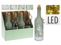fľaša dekoratívne 10LED pr.7,3x29cm s dekorom - mix variantov či farieb
