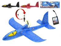Letadlo pěnové 35.5x36x10 cm na baterie 6 + - mix barev