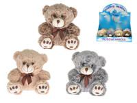 Medvídek plyšový 12 cm sedící s mašličkou - mix barev