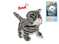 Mačka plyšová 15,5 cm chodiaci a bežiaci na batérie so zvukom