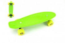 Skateboard - pennyboard 43cm, nosnosť 60kg plastové osi, zelená, žltá kola