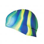 Spokey Abstract plavecká čiapka silikónová modro-žlto-zelené pruhy