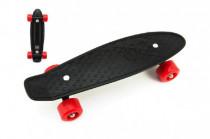 Skateboard - pennyboard 43cm, nosnosť 60kg plastové osi, čierna, červená kolesá