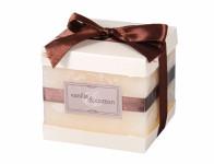 Svíčka ELEGANCE KOSTKA vanilka a bavlna rustikální 9x9x9cm