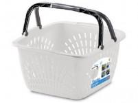 košík VENTO 2 držadlá 40x40x23cm plastový, bi, LIM, tyrk, nosnosť 15kg