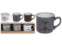 hrnek 180ml COFFEE keramický (3ks) - mix barev