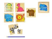 Puzzle zvířátka dřevo pro nejmenší 2 druhy v krabičce 12m+
