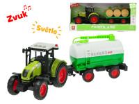 Traktor s vlečkou 38 cm 1:16 na setrvačník na baterie se světlem a zvukem - mix variant či barev