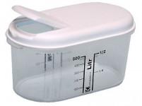 dóza na sypké potraviny 0,5l ovál s potlač. plastová, otváracia viečko - mix farieb