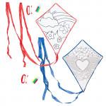 Set 1 + 1 lietajúcu drak Color & Fly, drak a fixky na vyfarbenie, červený a modrý, Cuculi