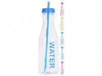 fľaša na pitie 650ml JUICE / WATER so slamkou plastová - mix farieb