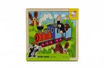 Skladačka Puzzle Krtko a mašinka drevo 20ks vlak