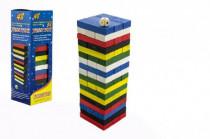 Hra Jenga veža drevo 48ks farebných dielikov hlavolam