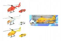 Helikoptéra s autom kov / plast 20cm - mix farieb