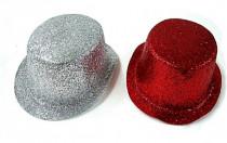 Klobouk party se třpytkami plast 27cm karneval - mix barev