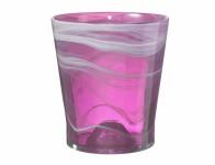 Obal na kvetináč SALINAS sklenený fialovo ružový d14x15cm