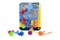 Zábavné míčky pro potápění 4ks plast se světlem na baterie na kartě