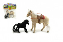 Kôň 13cm s žriebätkom 9cm flíska