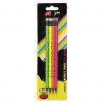 Ceruzka HB s gumou 4 ks Fluo