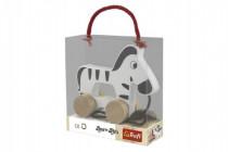 Zebra na kolieskach as povrázkom drevená Wooden Toys 12m +