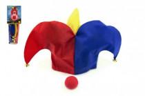 Klaunská klobúk látkový + nos karneval na karte 11x30cm