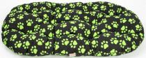 Polštář ovál bavl. Memory Tlapa černo/zelená 60 cm