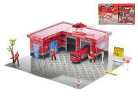 Hasičská puzzle stanica 34 ks - vozidlá 2 ks kov 9,5-12 cm voľný chod s doplnkami