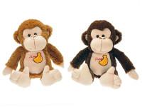 Opice plyšová 30 cm s výšivkou - mix barev