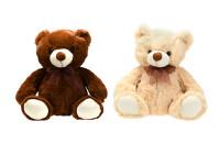 Medveď plyšový 31 cm sediaci s mašľou - mix farieb