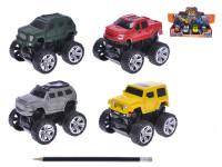 Auto terénní 9 cm na setrvačník stavící se na zadní - mix variant či barev
