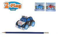Auto policejní veselé 2-Play 8 cm kov na setrvačník - mix variant či barev