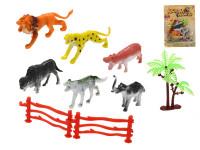 Zvířátka safari 7-9 cm 5 ks + 2 ks ohrádky a stromek