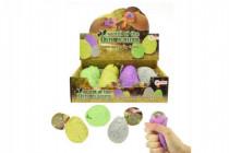 Vajcia gumové mačkacie sliz s dinosaurom antistresový 4 druhy