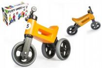 Odrážadlo oranžové FUNNY WHEELS 2v1 výška sedadla nastaviteľná 28 / 31cm nosnosť 50kg 18m +