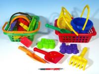 Košík sada - 2 bábovky rýľ lopatka hrabličky sitko vedierko nákupný košík plast 12m +