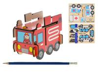 Puzzle dřevěné skládací záchranářská auta 30x22,5 cm - mix variant či barev