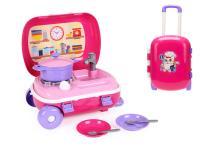 Kufřík na kolečkách/kuchyňka s nádobím 2 v1 růžová