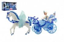 Bábika s koňom a kočiarom plast na batérie so svetlom