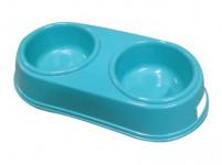 miska pre psa dvojitá 26,5x12,5cm plastová - mix farieb