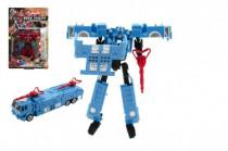 Transformer auto / robot hasiči plast 16cm - mix farieb