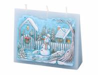 Sviečka snehuliakov OBÁLKA zdobená vyrezávaná vonná 13x11x4cm