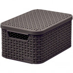 box úložný RATTAN 29x20x14cm (S) s víkem, STYLE2, plastový, HN